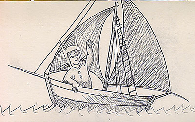 Sketch of Max in his boat