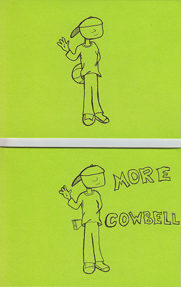 Character holding basketball, cowbell - More Cowbell text