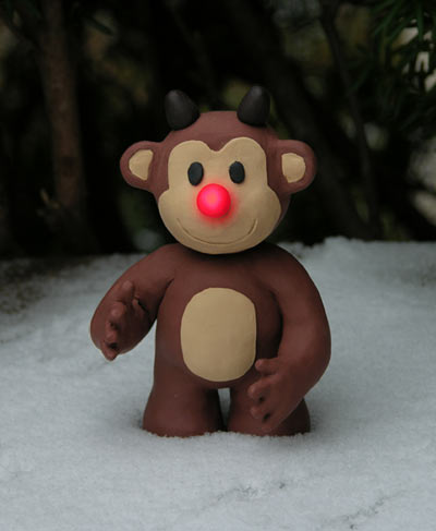 Timmy the Red-Nosed Reindeer Monkey - in the snow!