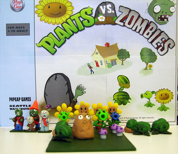 Picture of sculpted characters from Plants vs Zombies