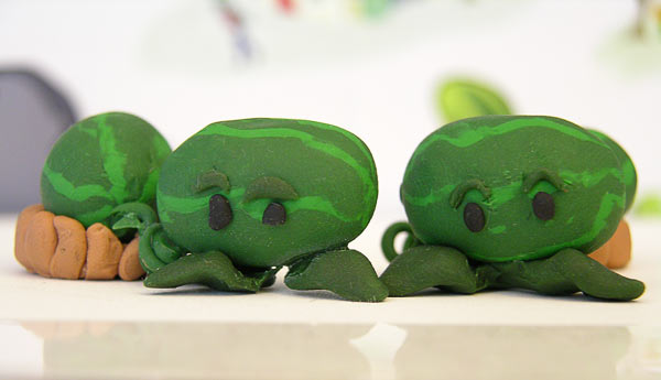 Picture of sculpted watermelon catapults from Plants vs Zombies