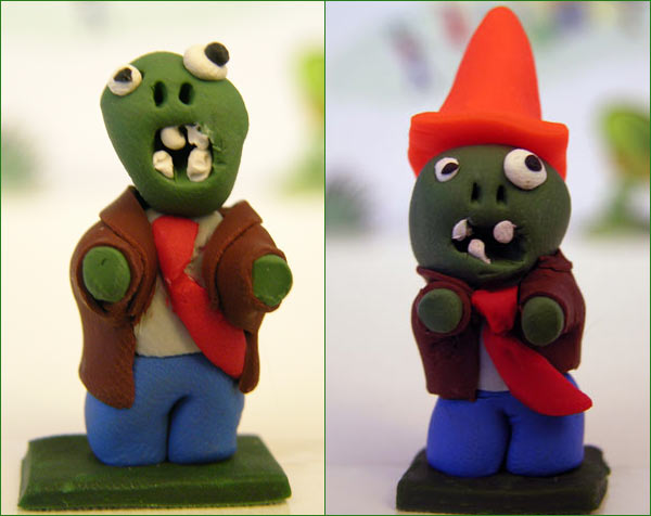 Picture of sculpted Zombies from Plants vs Zombies