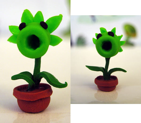 Picture of sculpted pea shooter from Plants vs Zombies