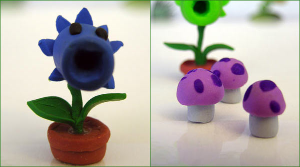 Picture of sculpted snowpea and mushrooms from Plants vs Zombies