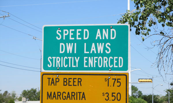 DWI and speed laws strictly enforced - beer 1.75 margarita 3.50