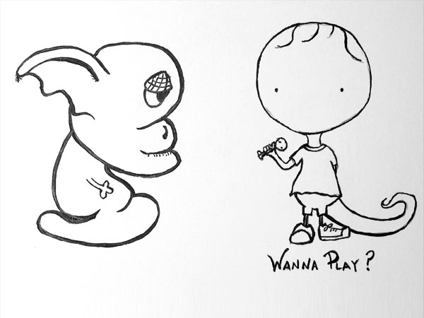 Wanna Play - Akashiya brush pen sketch