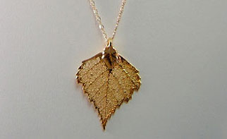 Gold Leaf Necklace from Dreaming Dragonflies dot com